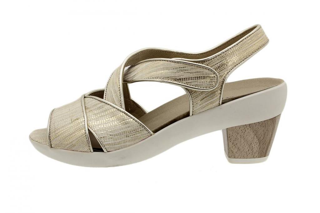 Removable Insole Sandal Beige Metal 1444