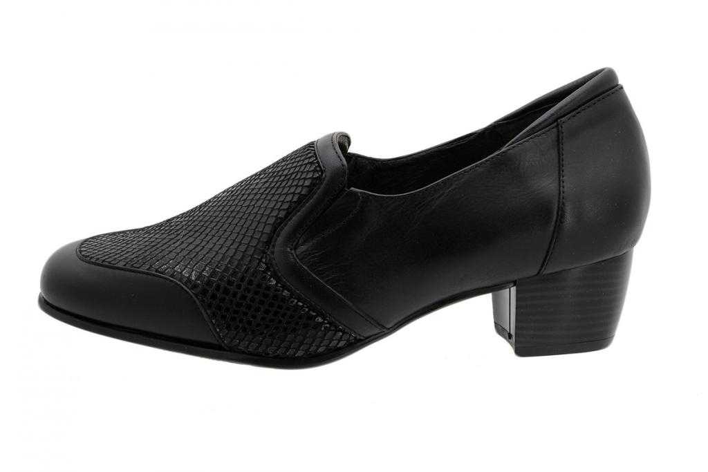 Stretch Shoe Black Leather 1614