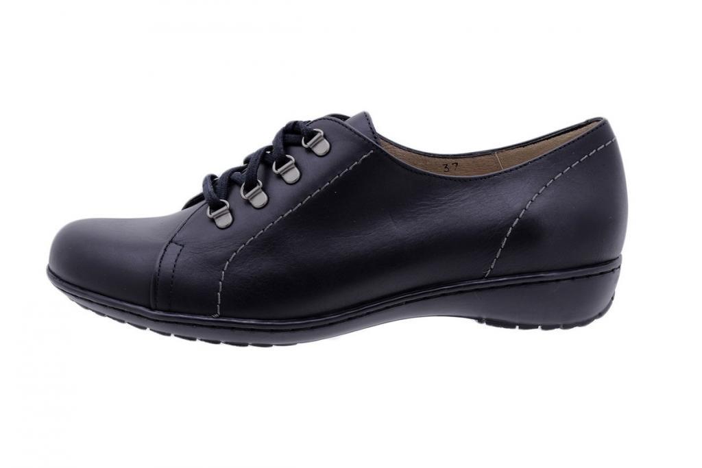 Lace-up Shoe Black Leather 1701