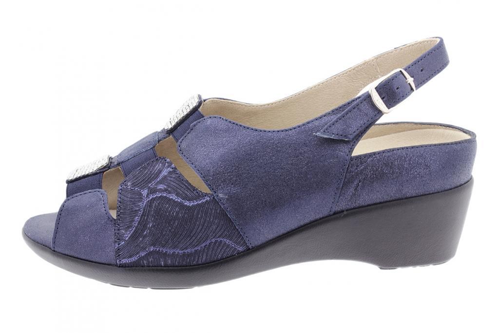 Removable Insole Sandal Blue Metal Suede 180159