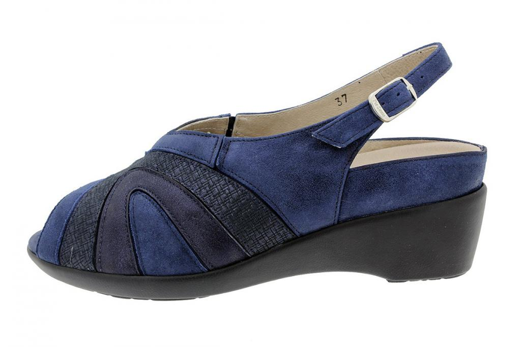 Removable Insole Sandal Blue Metal Suede 180162