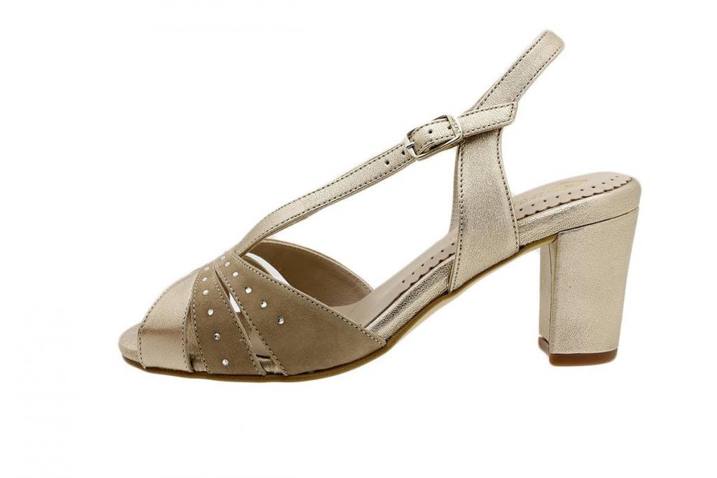Heel Sandal Platinum Metal-Suede 180260