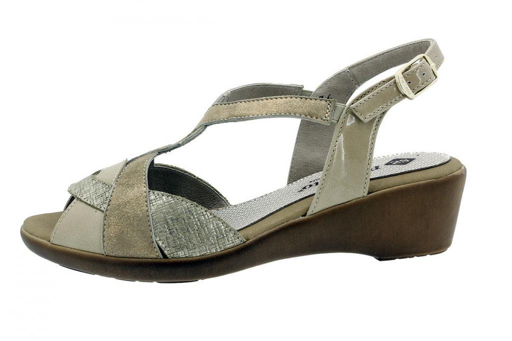 Wegde Sandal Beige Patent 180552