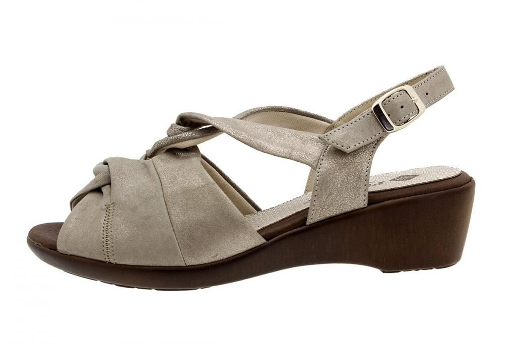 Wegde Sandal Mink Metal Suede 180561