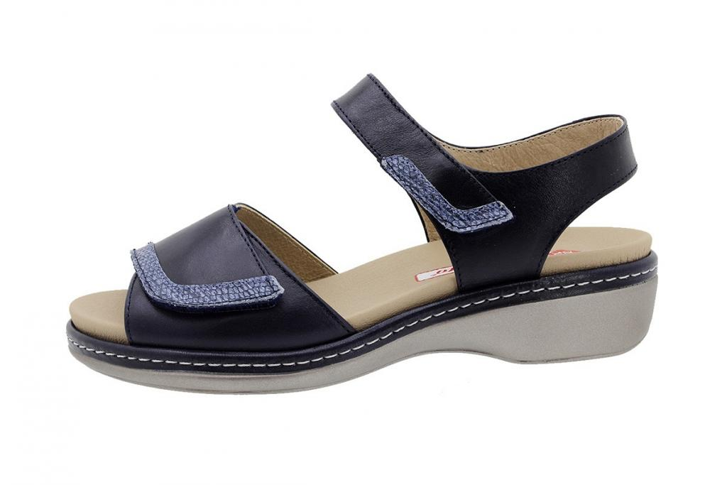 Removable Insole Sandal Navy Leather 180802