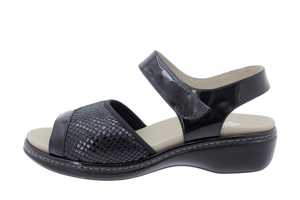 Removable Insole Sandal Black Patent 180816