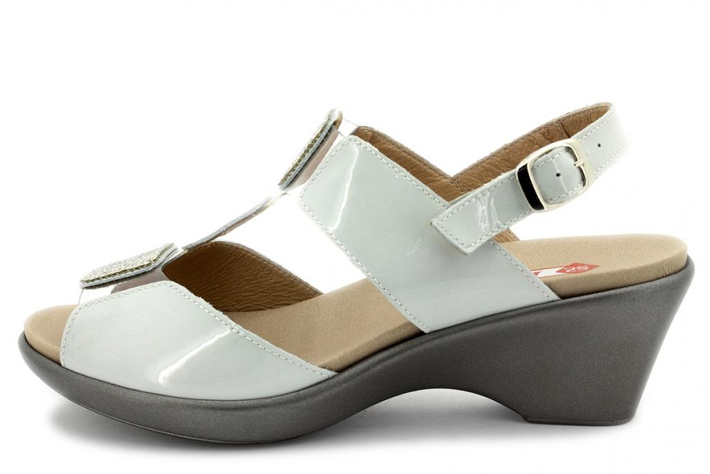 Removable Insole Sandal White Patent 180869