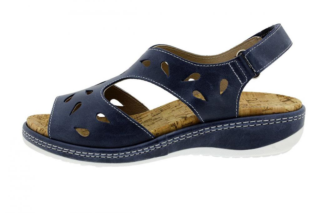 Removable Insole Sandal Blue Leather 180907