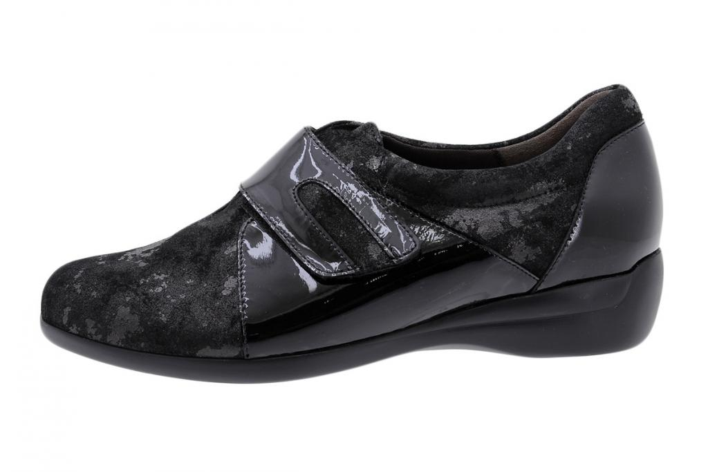 Velcro Shoe Black Metal Suede 185577