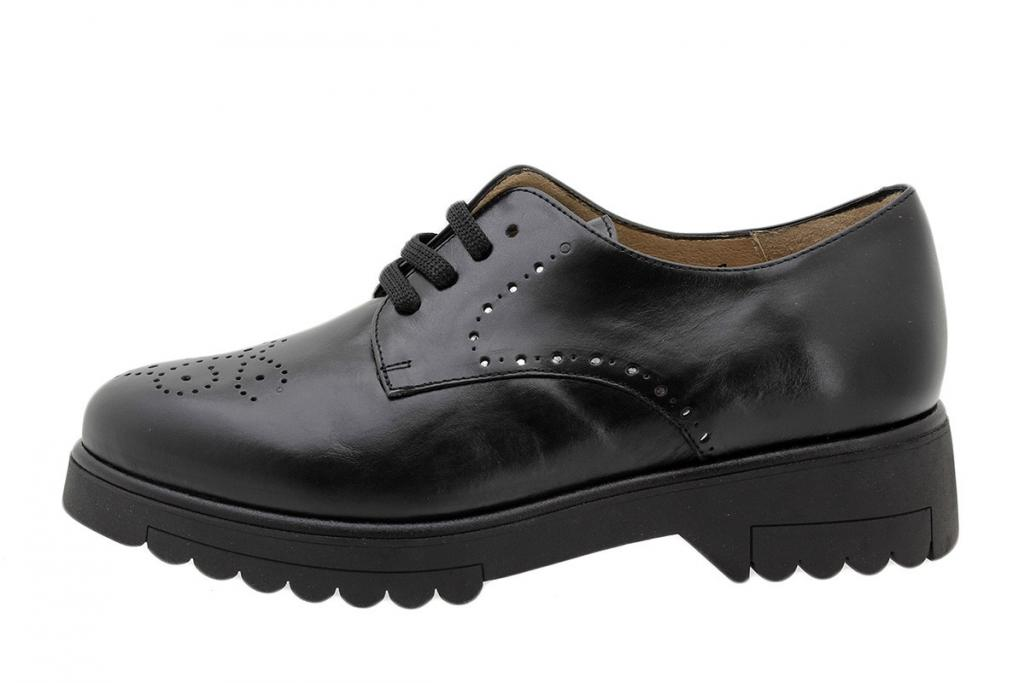Lace-up Shoe Black Leather 185656