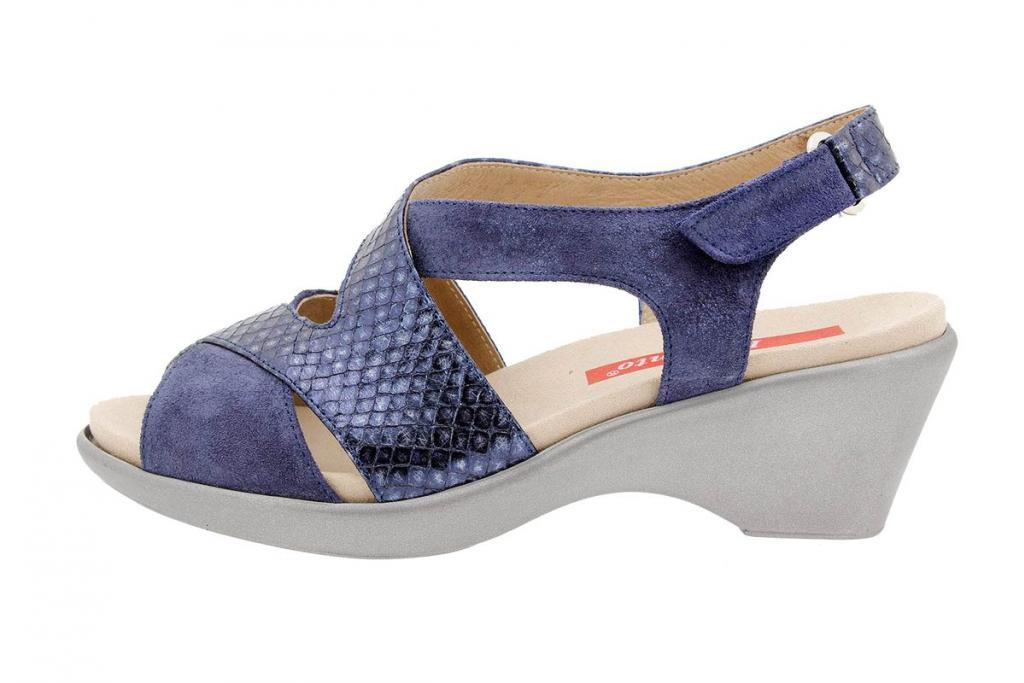 Removable Insole Sandal Metal Suede Blue 1861