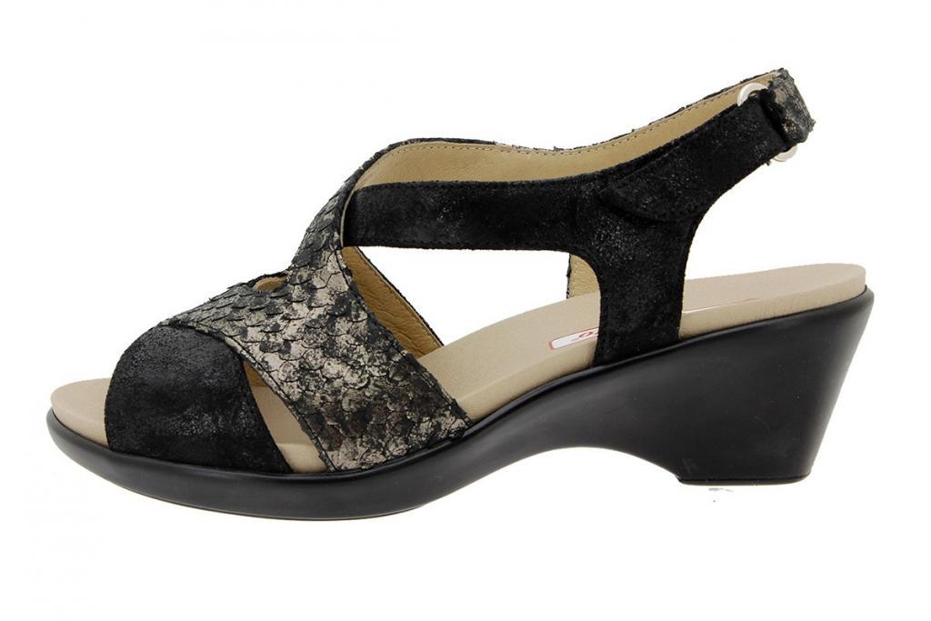 Removable Insole Sandal Metal Suede Black-Black 1861