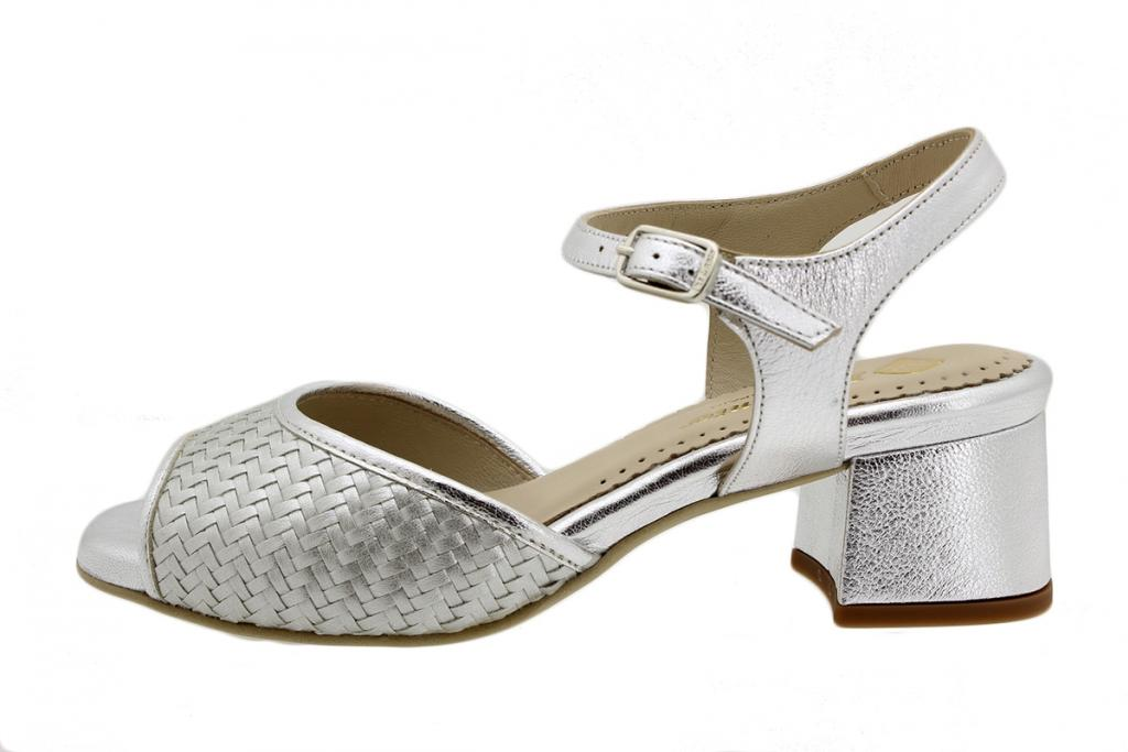 Heel Sandal Silver Woven 190286