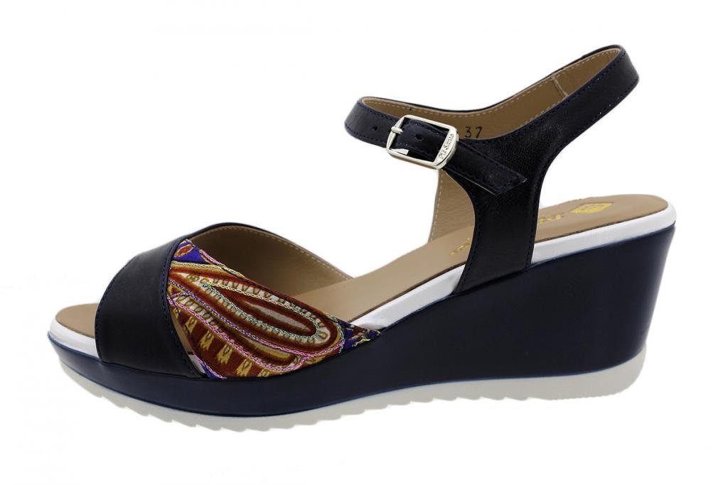 Wegde Sandal Blue Leather 190347
