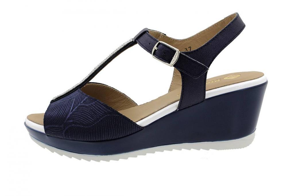 Wegde Sandal Blue Leather 190350
