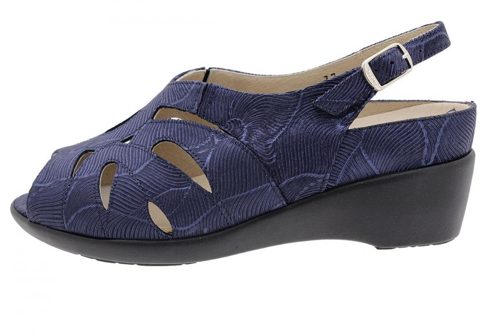 Removable Insole Sandal Blue Leather 190402