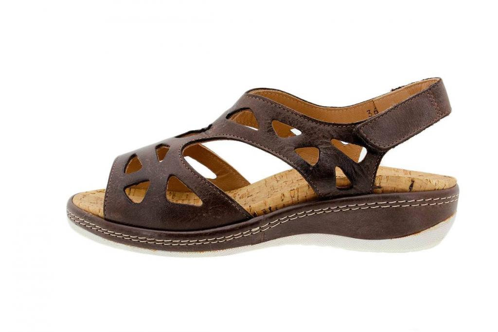 Removable Insole Sandal Leather Coffee 1905
