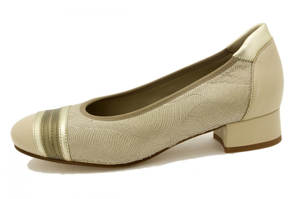 Flat shoe Beige Leather 190532