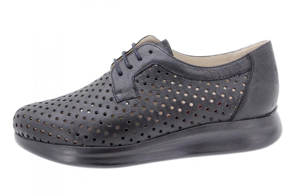 Tie shoe Black Metal Suede 190753