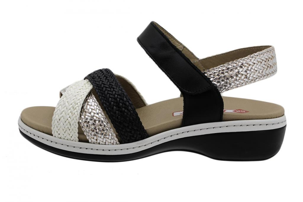 Removable Insole Sandal White-Silver-Black Interlaced 190809