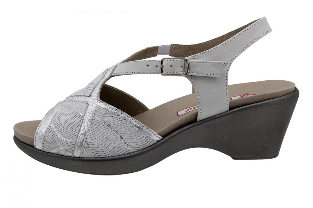 Removable Insole Sandal Silver Metal 190857