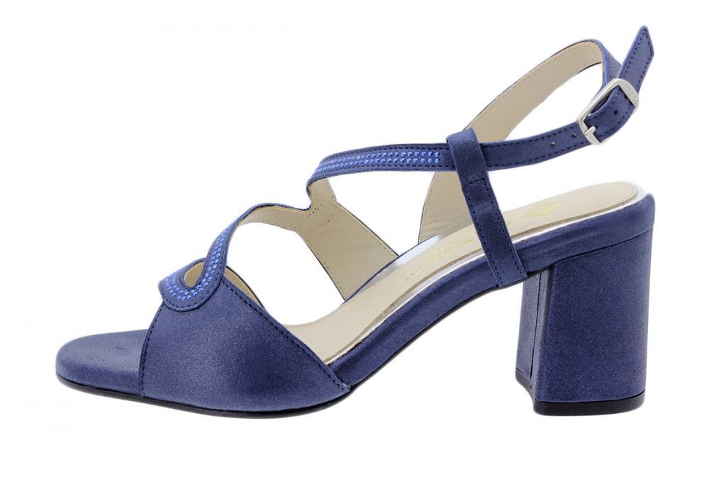 Heel Sandal Blue Metal Suede 200267