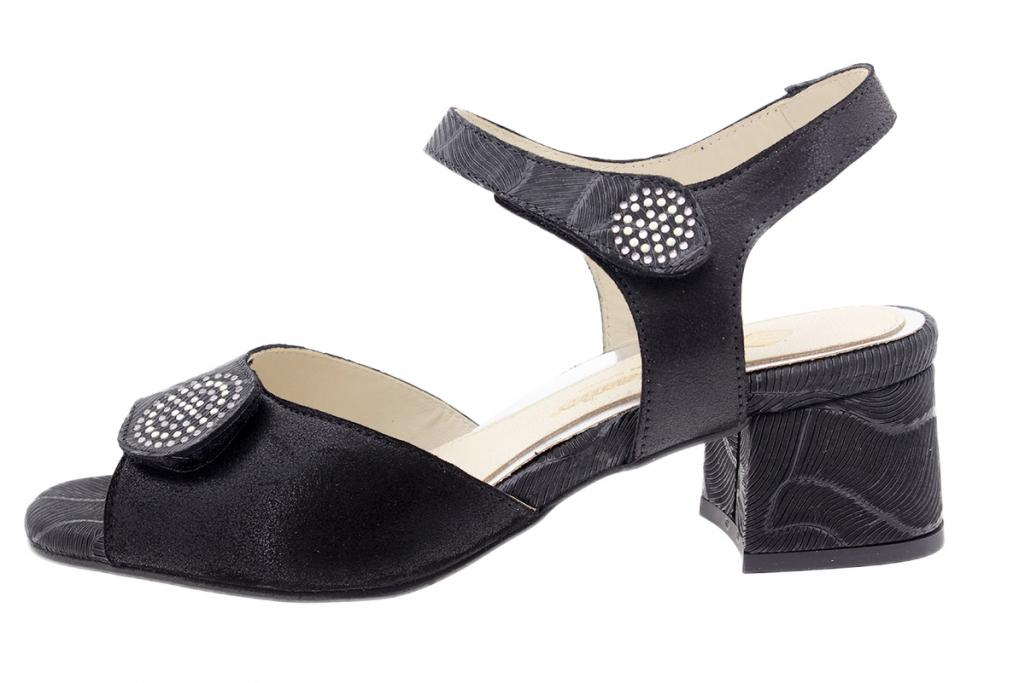 Heel Sandal Black Leather 200288