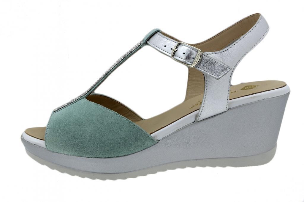Wegde Sandal Turquoise Suede 200350