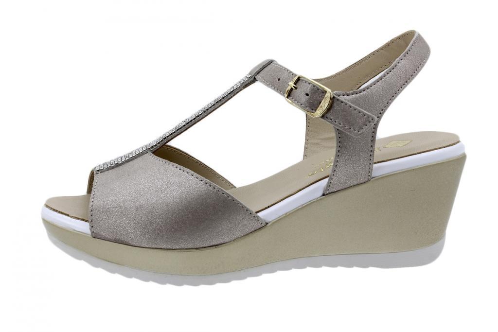 Wegde Sandal Mink Metal Suede 200350