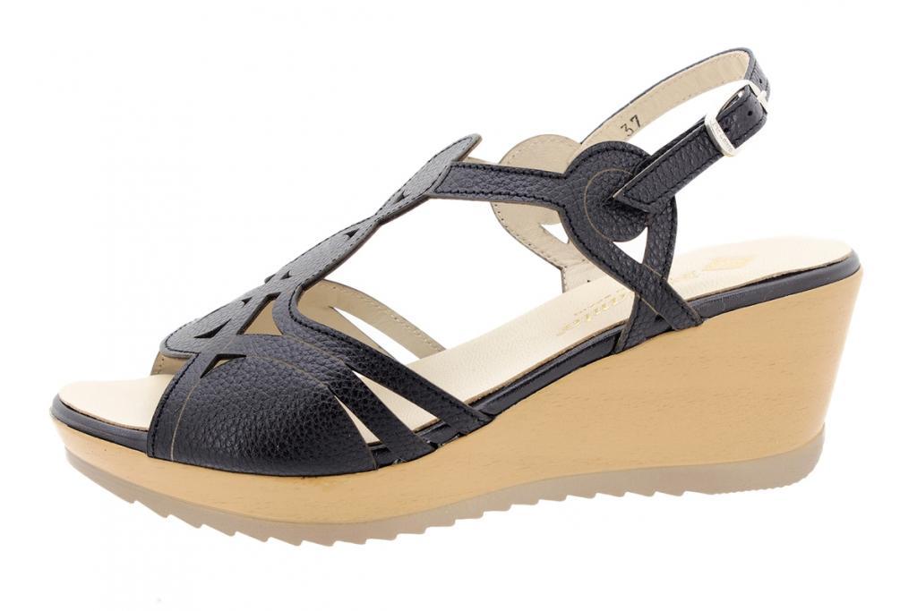 Wegde Sandal Black Leather 200363