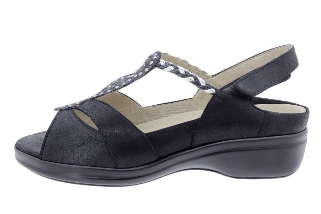 Removable Insole Sandal Black Metal Suede 200404