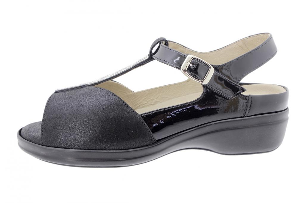 Removable Insole Sandal Black Metal Suede 200407