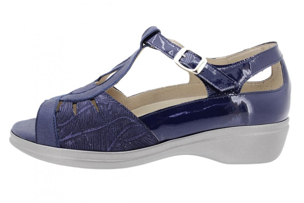 Removable Insole Sandal Blue Metal Suede 200410