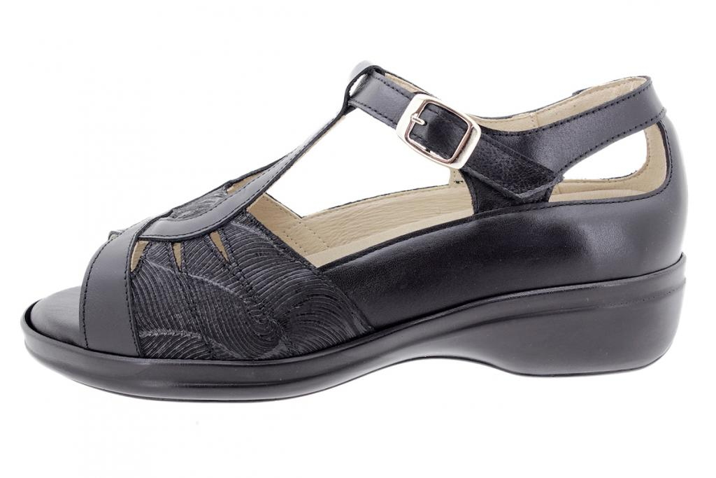 Removable Insole Sandal Black Leather 200410