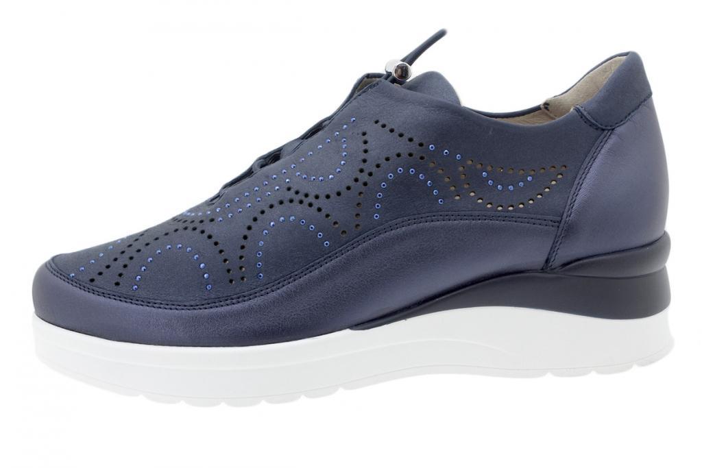 Lace-up Shoe Blue Metal 200754