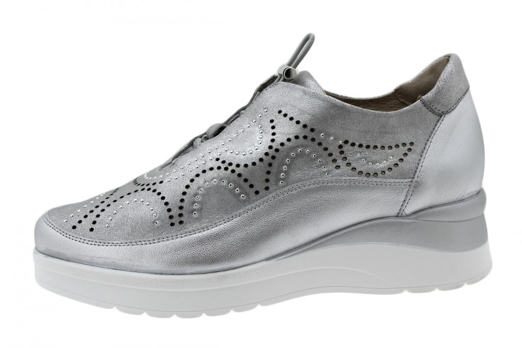 Lace-up Shoe Silver Metal 200754