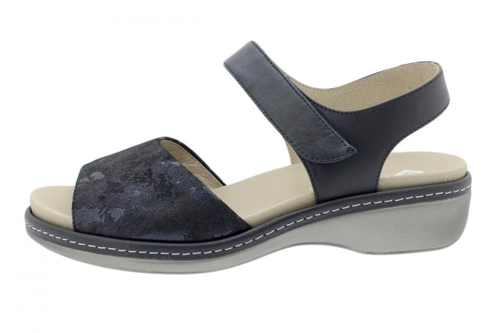 Removable Insole Sandal Blue Metal Suede 200807