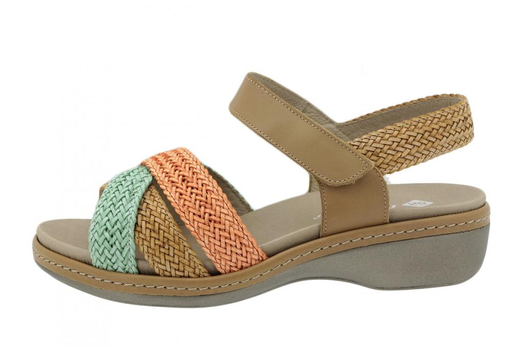 Removable Insole Sandal Interlaced Mint-Tan-Coral 200809