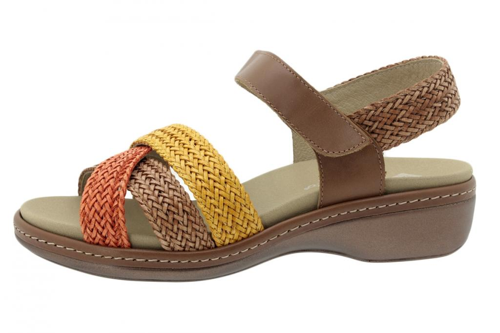 Removable Insole Sandal Interlaced Peach-Tan-Yellow 200809