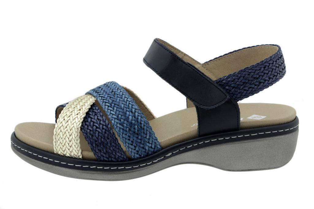 Removable Insole Sandal Platinum-Navy-Turquoise Interlaced 200809