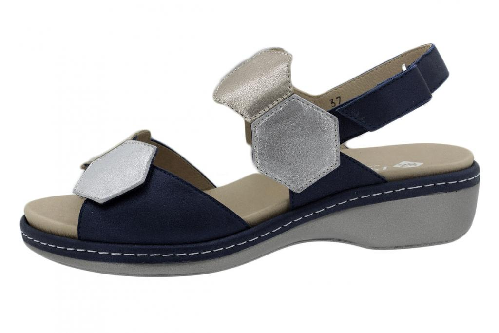 Removable Insole Sandal Metal Suede Blue 200822