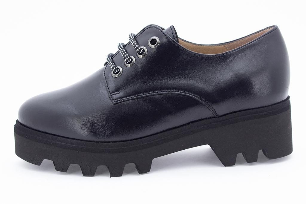 Lace-up shoe Black Leather 205655