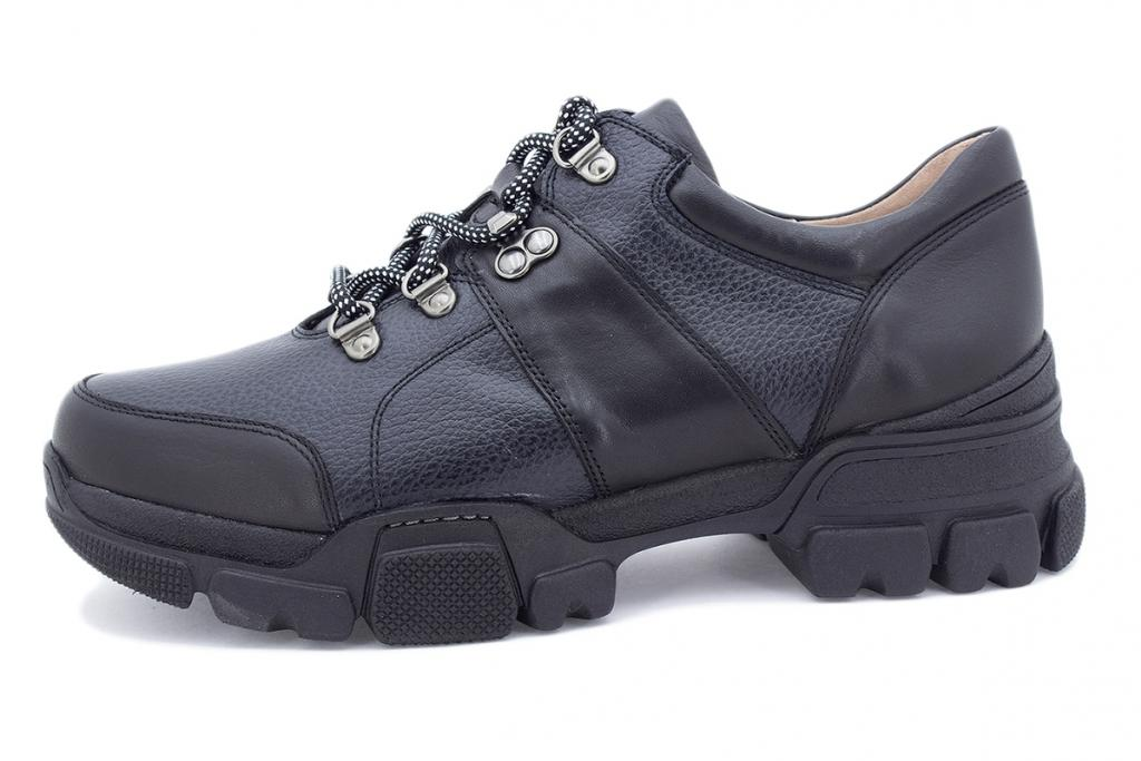 Lace-up shoe Black Leather 205721