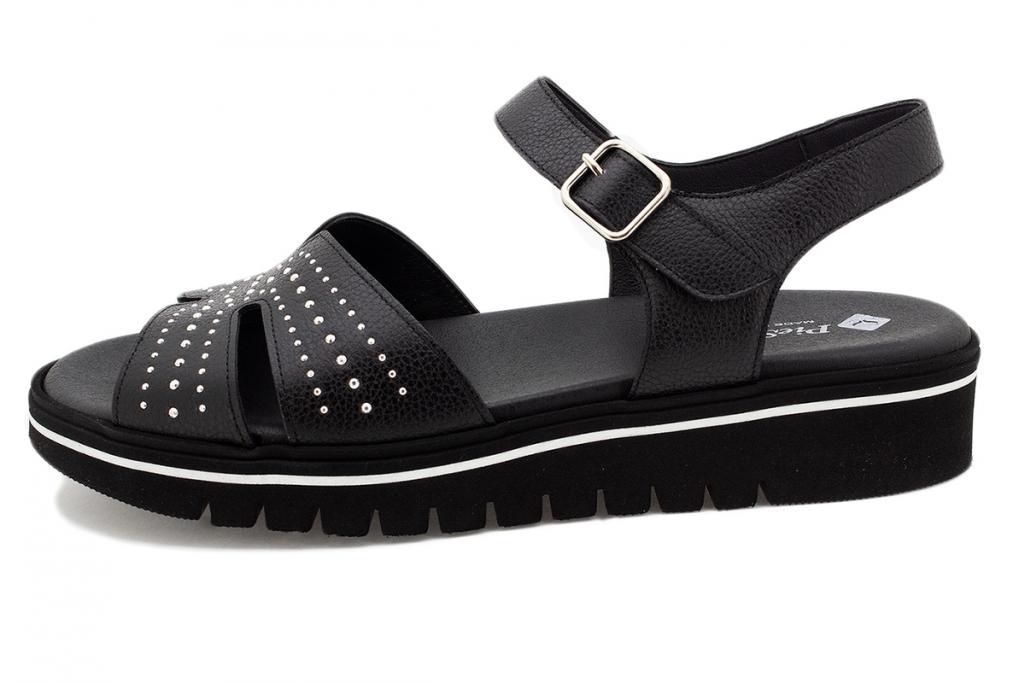 Removable Insole Sandal Black Leather 210776