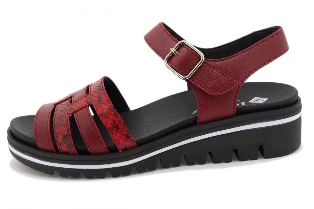 Removable Insole Sandal Red Leather 210777
