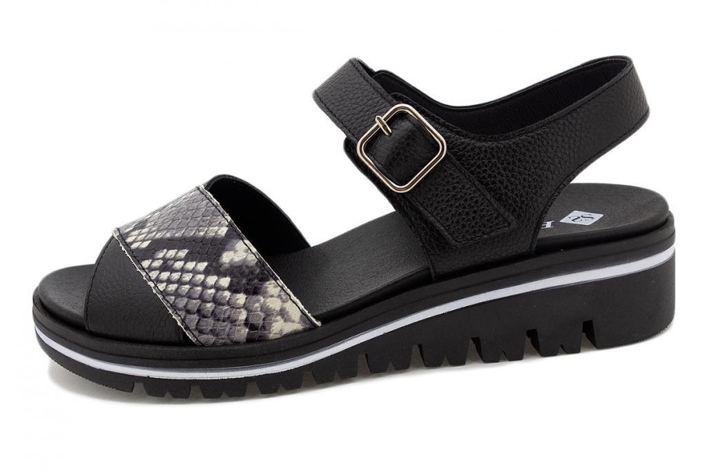 Removable Insole Sandal Black Leather 210778