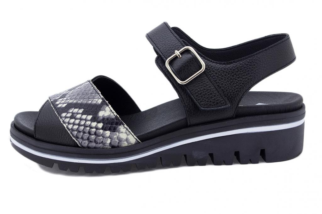 Removable Insole Sandal Black Leather 210778