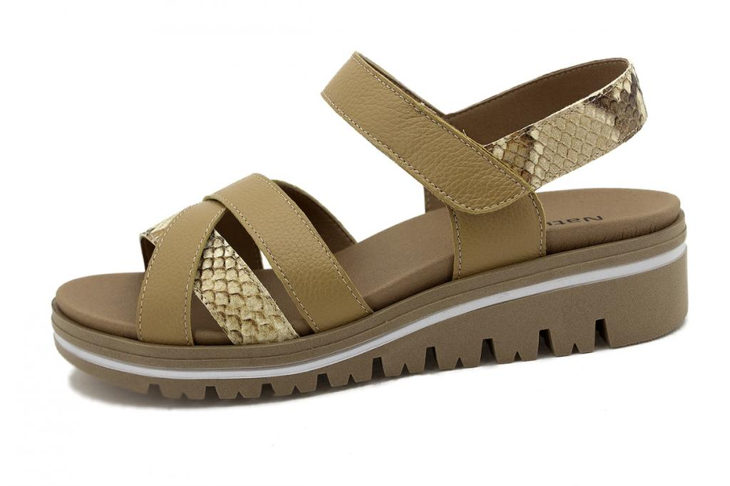Removable Insole Sandal Tan Leather 210784