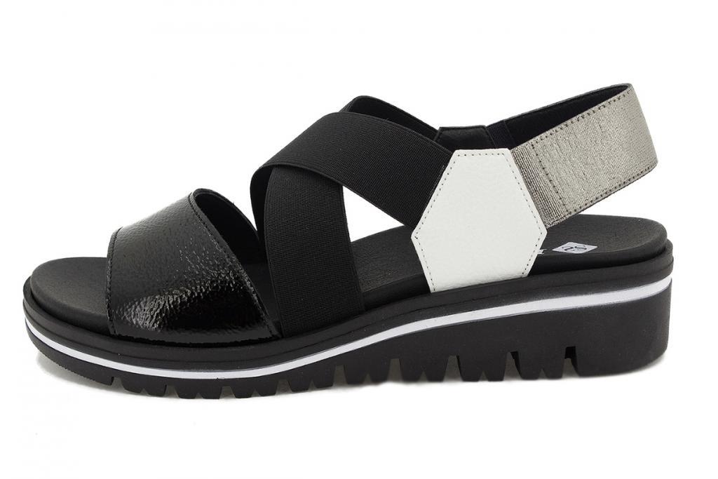 Removable Insole Sandal Black Patent 210787