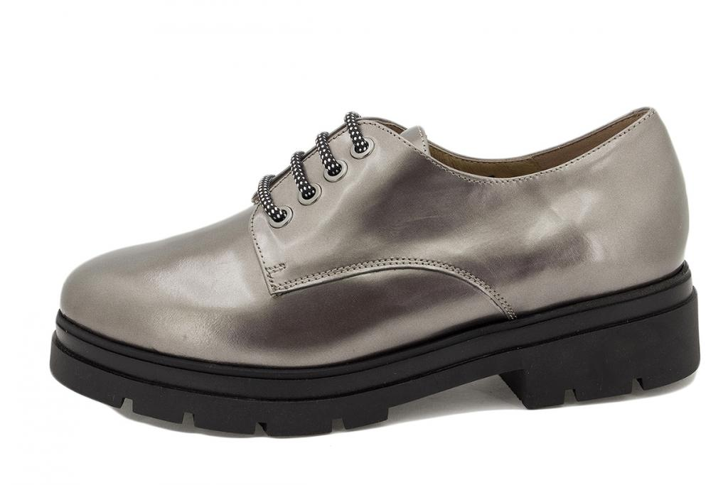 Lace-up shoe Taupe Metal 215675